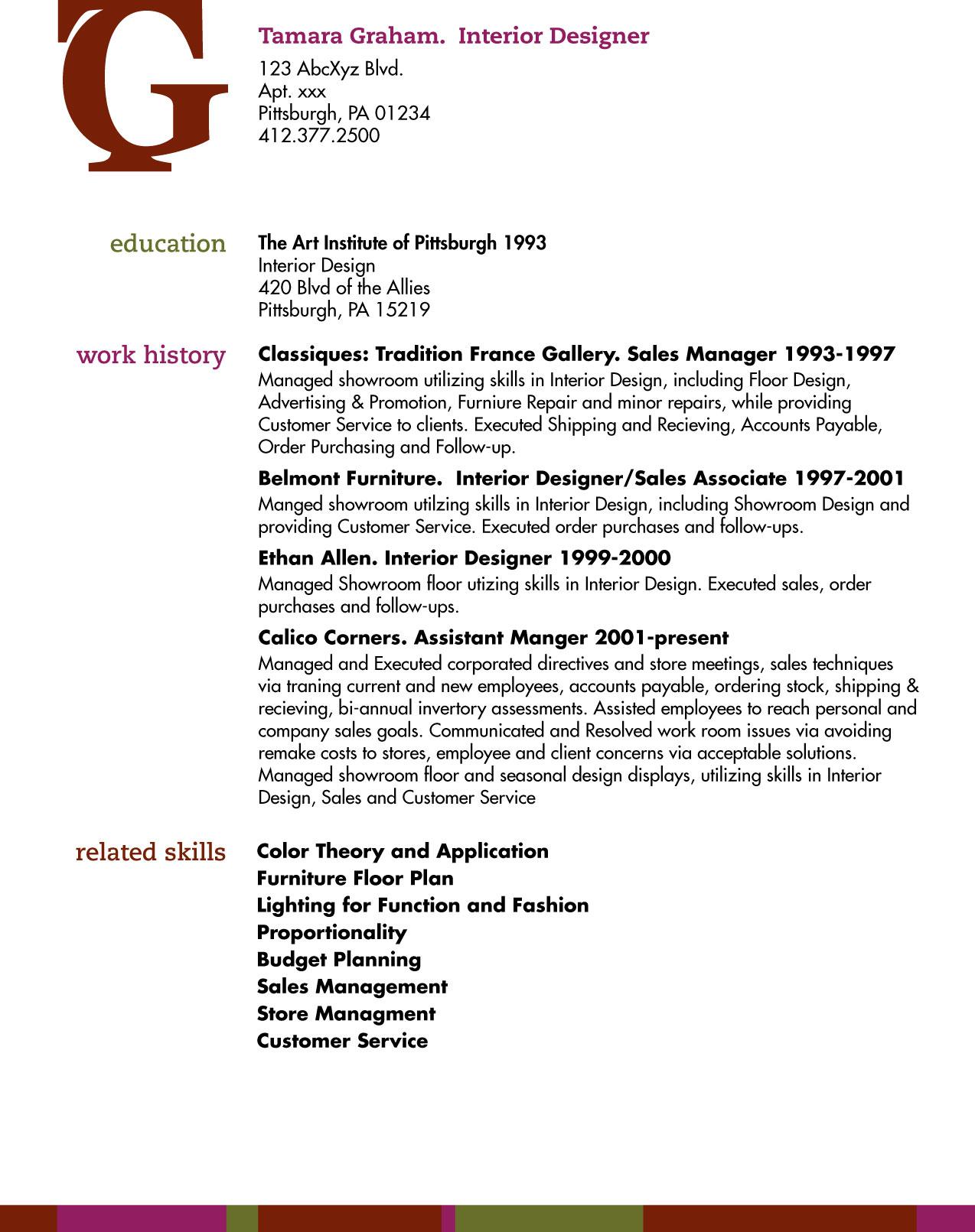 Description of an interior designer for Kitchen designer job description for resume